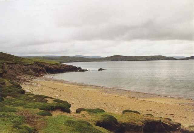 Sandy beach on Muckle Roe overlooking Swarbacks Minn
