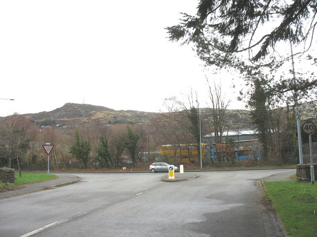 The junction between the Glynrhonwy Industrial Estate road and the A4086