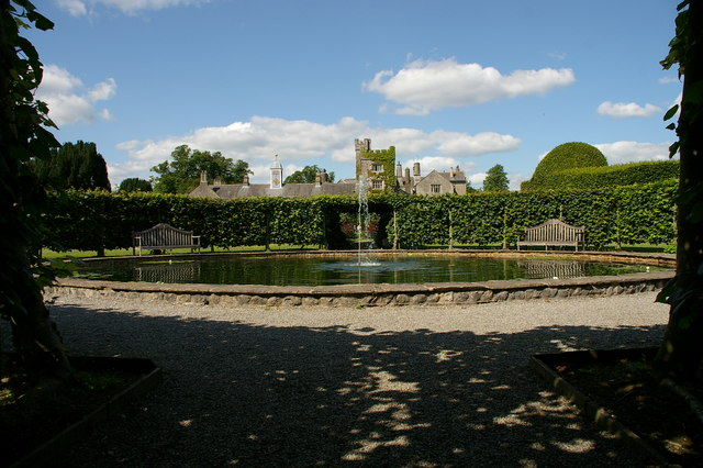 Part of the non-topiary garden at Levens Hall