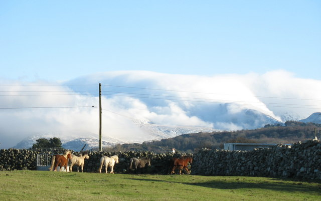 Clouds spilling over Snowdon viewed from Llanrug