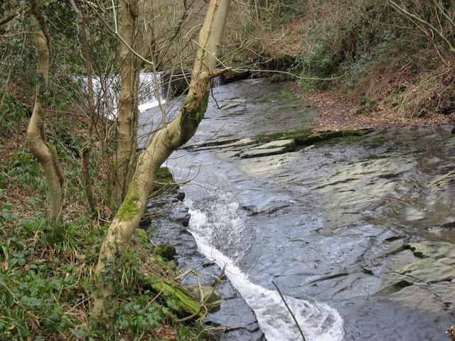 Weir on Cwm Du river in Ynysmeudwy-Cilmaengwyn