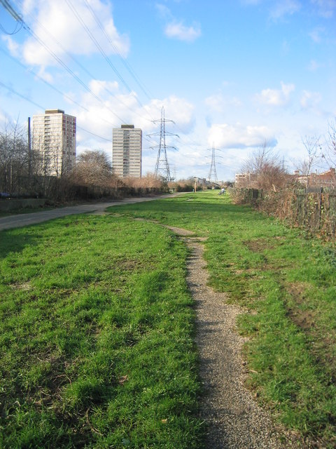 View north west along the Greenway, near Abbey Mills, West Ham