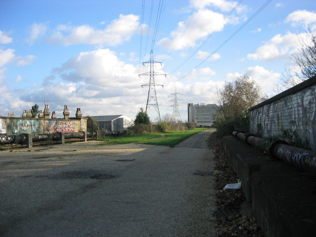 View south east along Greenways above Abbey Mills Pumping Station