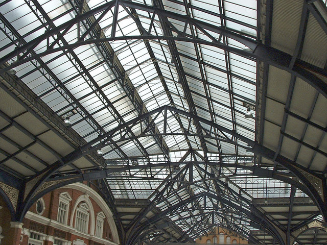Glass roof of Liverpool Street Station, London