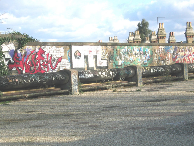 A graffiti gallery on the Greenways, near Abbey Mills Pumping Station