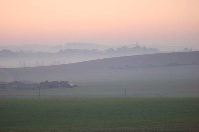 Barns near Icknield Farm on a misty November afternoon
