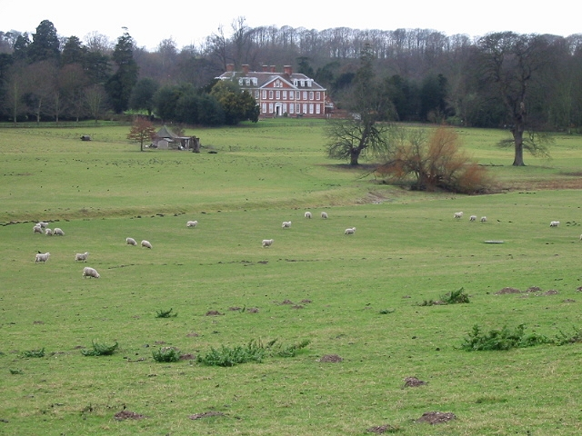 Bourne Park House and sheep fields