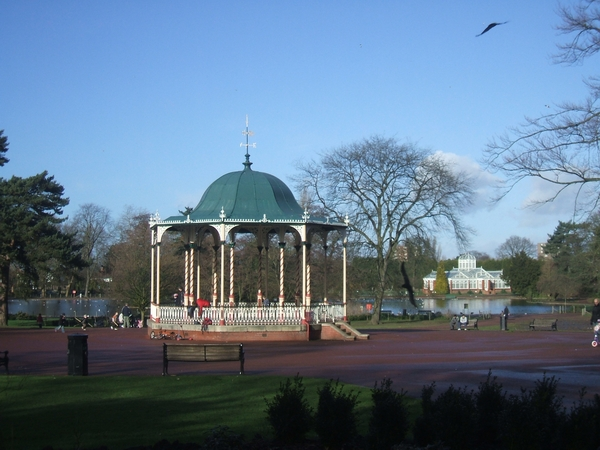 Bandstand and lake at West Park