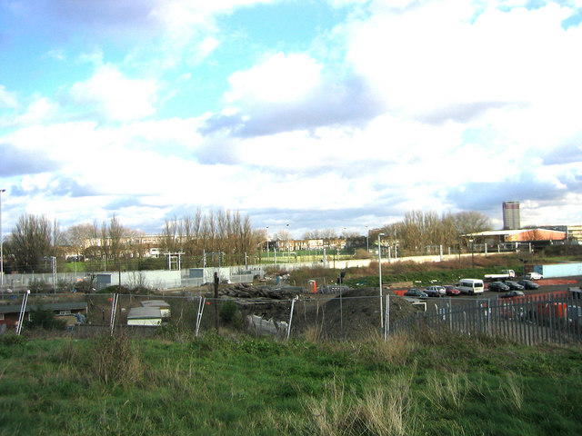 View from Mound at Eastway Cycle Circuit across Turnmill Lane to Leyton