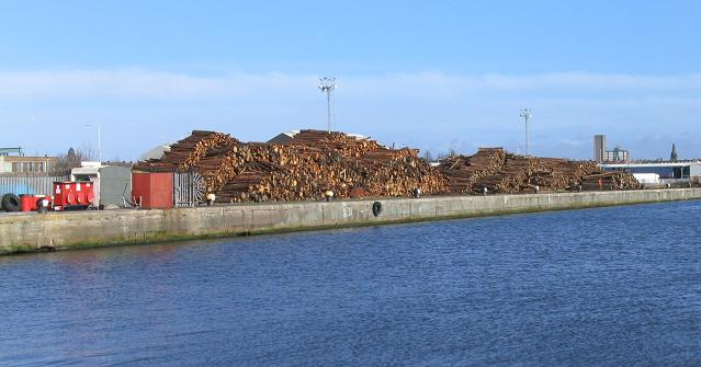 Timber yard by East Float dock