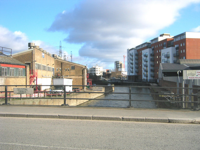 View east from Marshgate to Stratford along Bow Back River