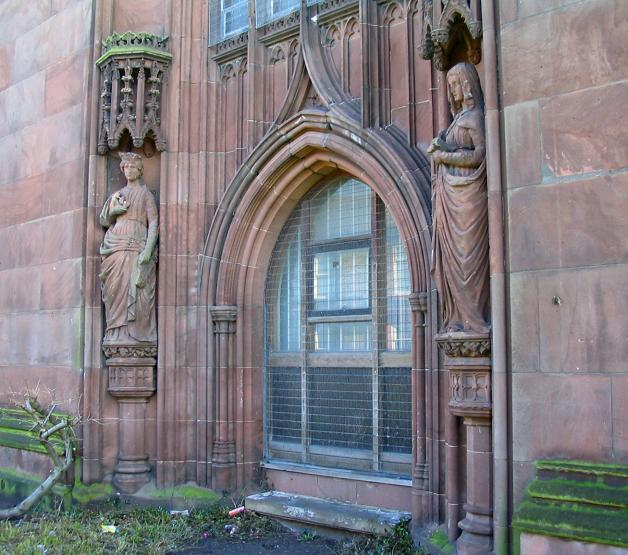 Statues and archway at Christ the King Church