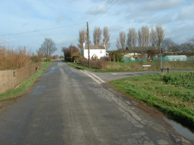Road junction, King John Bank, Walpole Marsh