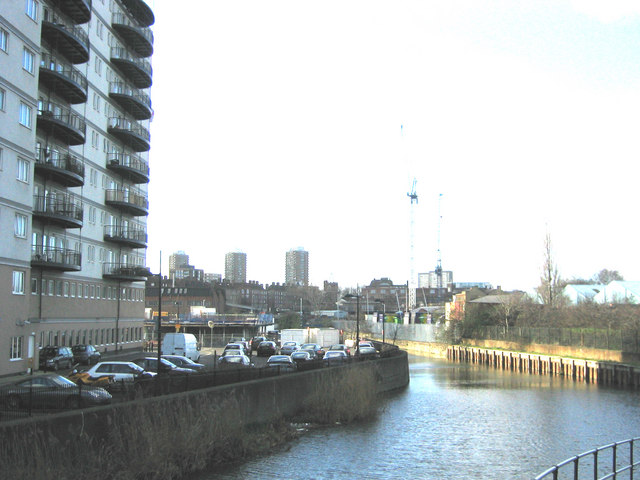 View west along Bow Back River from Marshgate to Bow