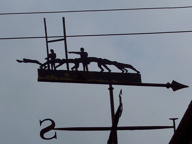 Rugby lovers weathervane at Higher Farm