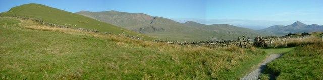 Panorama Moel Cynghorion, Snowdon, Moel Hebog