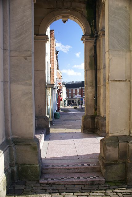 Looking through the pillars of the Market Hall