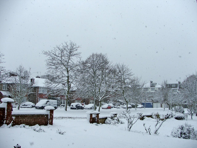 South Lodge Drive, N14 during recent heavy snow fall