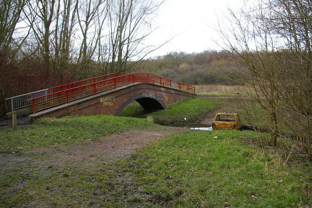 Footbridge and ford across the Bourn Brook, Woodgate Valley Country Park