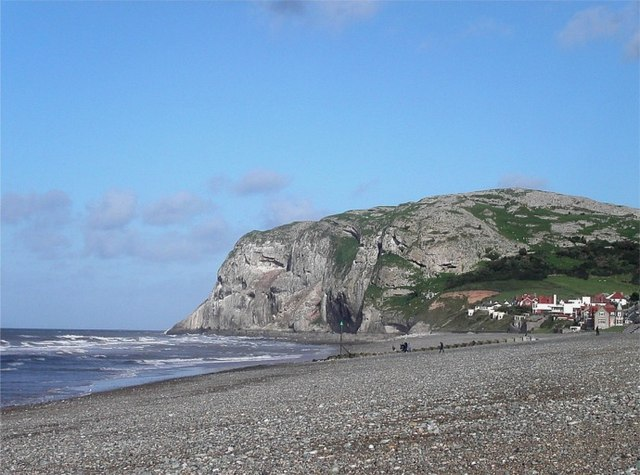 Pebbled beach, Llandudno Bay with Little Orme headland