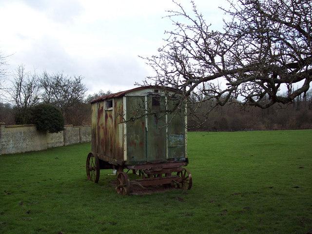 Shepherds caravan at Manor Farm, Netton