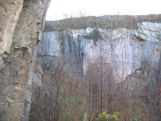 South west wall of the upper pit of Glynrhonwy Lower Quarry
