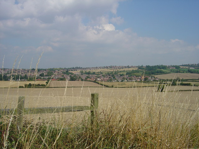 Whiston Village across the fields