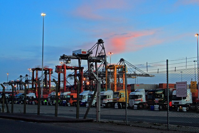 HGV lined-up for container loading in Docks