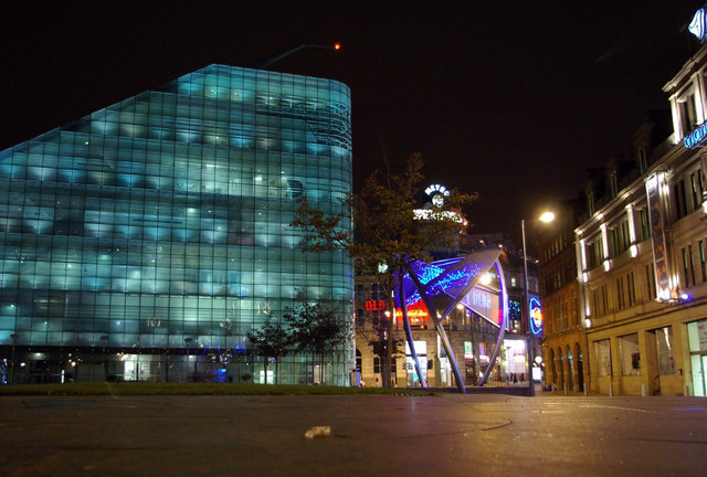 Cathedral Gardens  and Urbis by night
