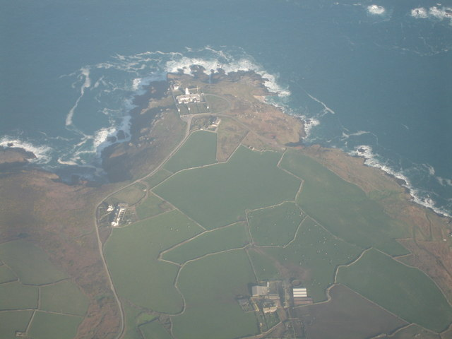 Aerial view of Pendeen Watch lighthouse