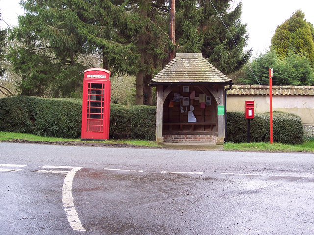 Bus shelter and telephone box at Lake