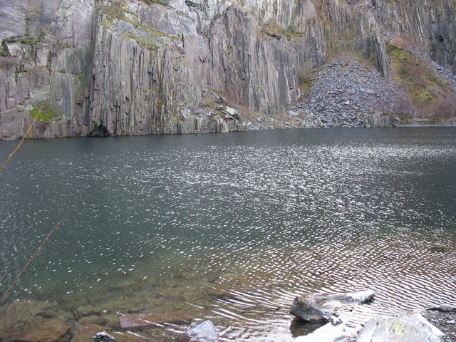 Into the deep.. the flooded 'sinc' at Lower Glynrhonwy Quarry