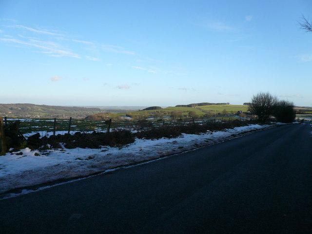 Wirestone Lane view towards Top Slack Farm
