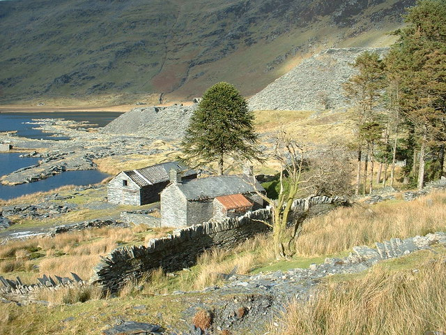Disused quarry buildings at Cwmorthin Quarry