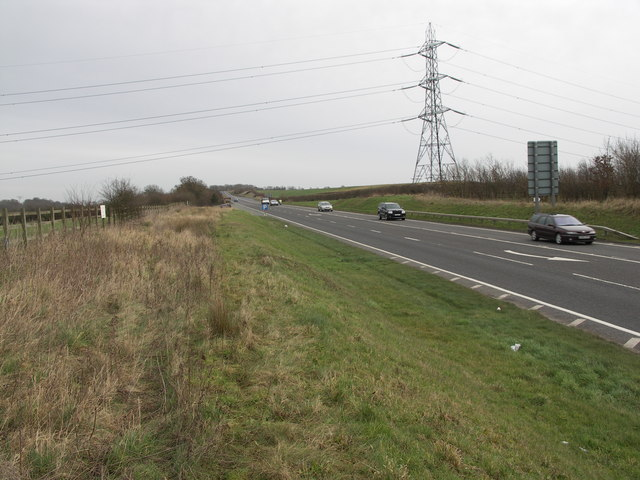 Powerlines cross the A6.