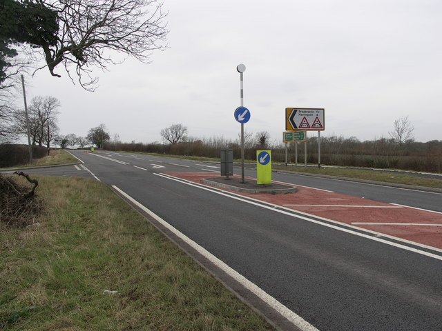 Road from Braybrooke meets A6.