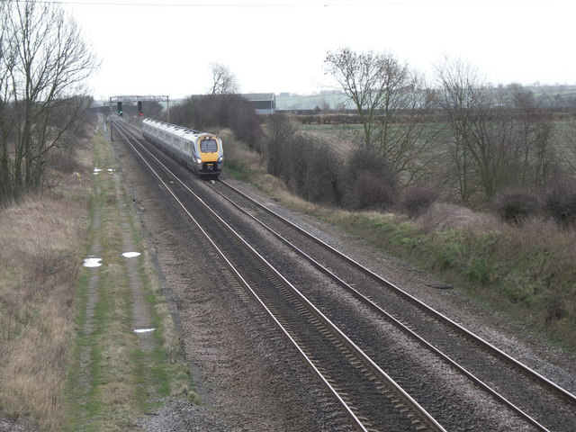 Railway track with approaching express
