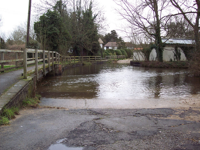 Ford through the River Bourne at Winterbourne Dauntsey