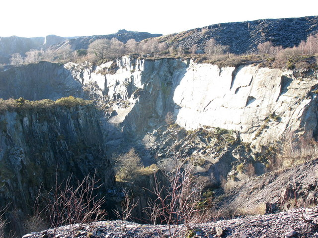 The eastern half of the upper pit of Glynrhonwy Lower Quarry