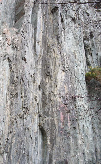 Igneous intrusions of various hues in the rock face above the pool in Glynrhonwy Lower