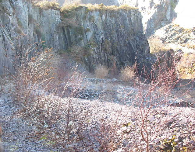 MOD constructed road into the upper pit of Glynrhonwy Lower