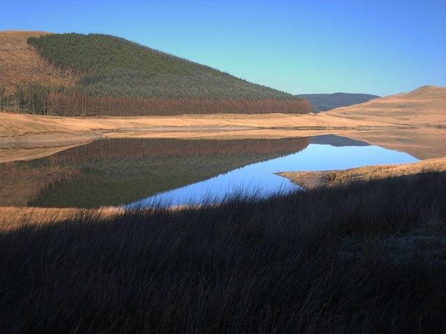 The western branch of Nant y Moch reservoir