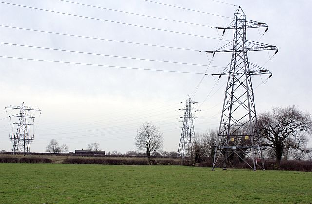 Pylons south of Hall Pastures Farm