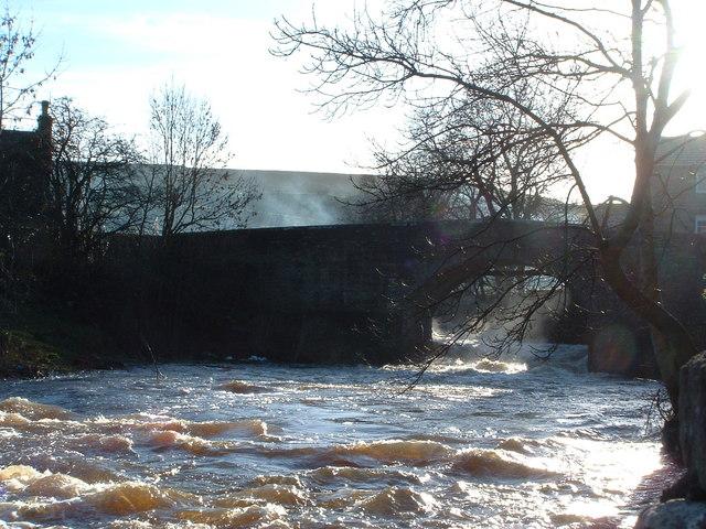 The River Bain in full spate at Bainbridge