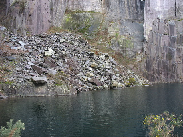 South-east corner of the pool in the upper pit of Glynrhonwy Lower Quarry