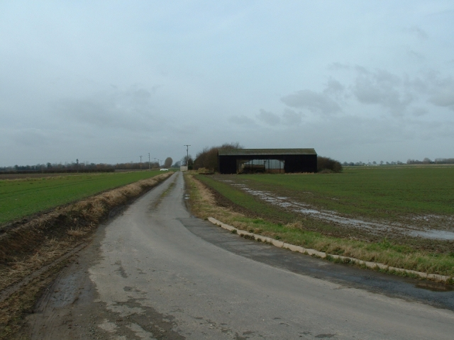 Barns and road, Wingland Marsh