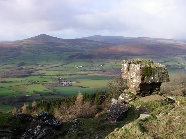 View from landslip on Ysgyryd Fawr towards Sugarloaf