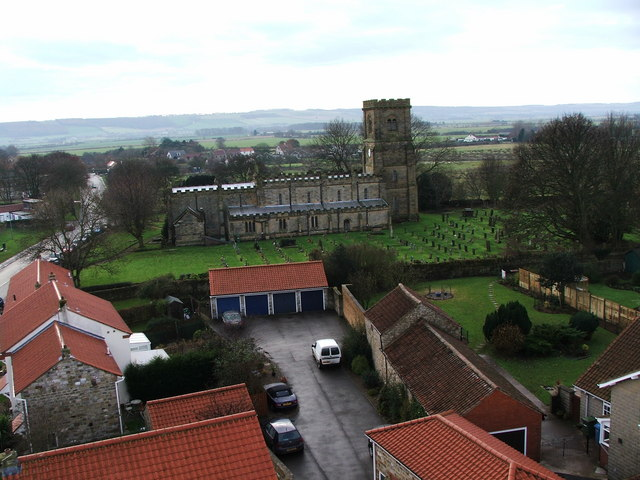 St Martins, Seamer Main Street. The Wolds in Background
