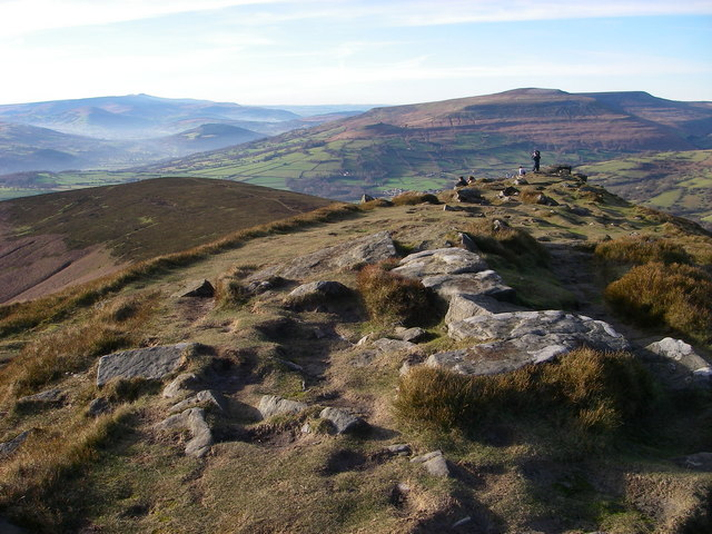 From Sugar Loaf summit ridge towards Crug Hywel
