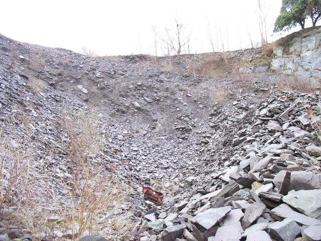 Blocked adit in the upper pit of Glynrhonwy Lower Quarry